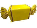 Wrapped Yellow Candy with Purple Stripes