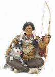 Sitting Indian Warrior with Wolf Life Size Statue