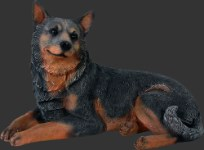 Life Size Realistic Blue Heeler Dog Lying Down