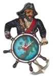 Large Pirate Clock  Over 2' Tall! Great Nautical Display