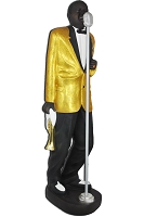 6' Black Singer With Gold Jacket Life Size Statue