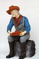 Gold Panner Prospector- Gold Miner Life Size Sitting Statue Display