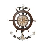 Large Nautical Ships Wheel and Anchor Clock Prop Display