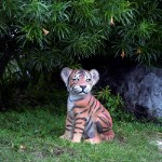 Life Size Bengal Tiger Cub Sitting Statue