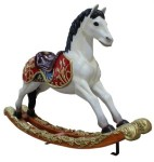 3.5' Toy Rocking Horse with Black Mane
