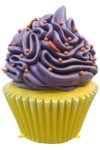 Yellow Cupcake with Purple Icing and Orange Sprinkles