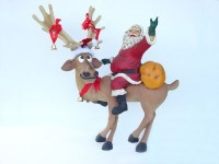 Funny Reindeer Standing with Santa