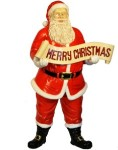 5' Polyresin Santa with Merry Christmas Sign