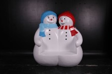 Polyresin Double Snowman Seat Bench