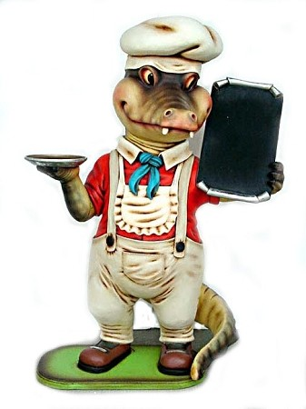 Crocodile with Menu Sign and Serving Tray - 6' Life Size Statue