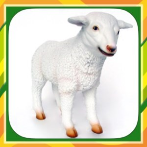 Lamb Life Size White Resin Standing