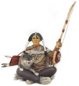Sitting Indian Warrior with Wolf