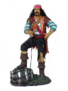 Black Beard Pirate with Barrel 6' Life Size Statue