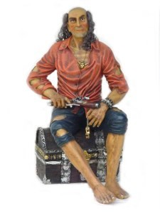 Large Pirate on Treasure Chest  Life Size Statue