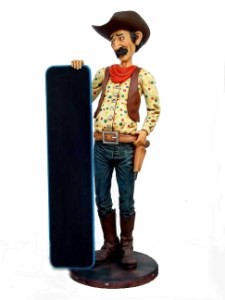 Cowboy with Menu 5.5' Life Size Statue