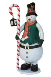 Snowman with Candy Cane and Electric Lantern 6' Large Christmas Prop Display