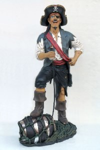 Funny Pirate with Barrel  6.25' Life Size Pirate Statue Prop Display