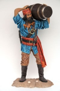 Chinese Pirate with Barrel Prop Display~ Life Size Pirate Statue