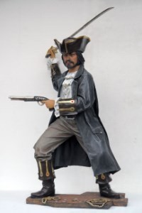 Buccaneer Pirate with Sword and Pistol ~Almost 7' Tall ~Life Size Resin Pirate Statue Prop Display!