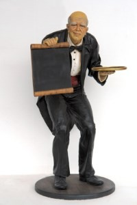 Retired Waiter with Menu Signs and Tray Life Size 6'