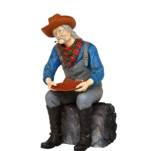 Gold Panner Prospector- Gold Minner Life Size Sitting Statue Display