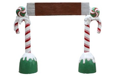 8' Polyresin Candy Cane Arch with Chocolate Bar