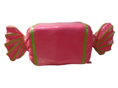 Wrapped Candy Hot Pink with Lime Green Stripes