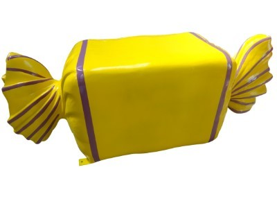 Wrapped Candy Yellow with Purple Stripes