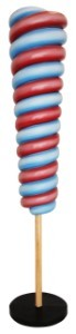 7' Red And Blue Upside Down Candy Cone Tree on Base