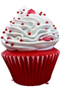 Red Velvet Cupcake with White Icing and Red Sprinkles