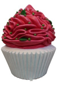 White Cupcake with Hot Pink Icing and Lime Green Sprinkles