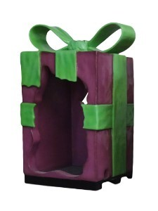 8' Purple Gift Box with Green Bow, Photo Op