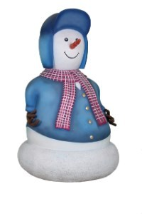 Mini Snowman Father Dressed in Red & Blue
