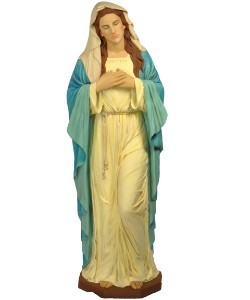 68'' Tall Virgin Mary with Traditional White Gown and Blue Robe