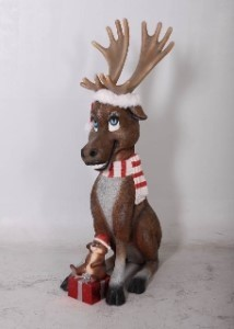 Moose and Squirrel with Santa Hat & Candy Cane Striped Scarf